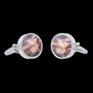 Monogram Purple Sunset / Orange Sunset Custom Silver Cufflinks