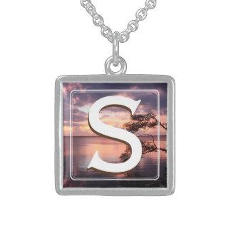Monogram Purple Sunset Sterling Silver Necklace