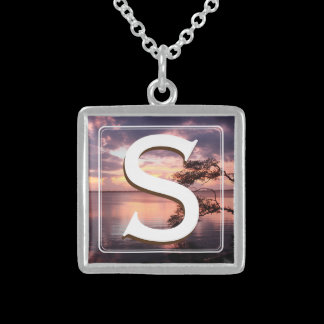 Monogram Purple Sunset Sterling Silver Necklace