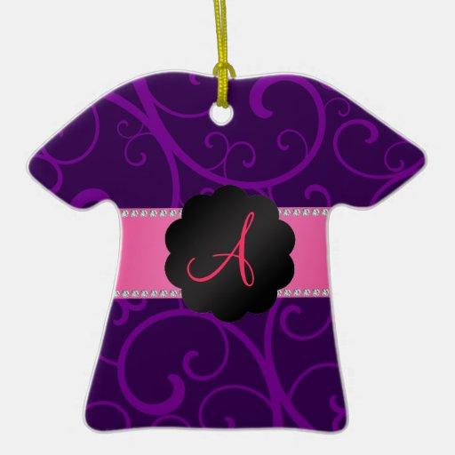 Monogram purple swirls christmas ornaments