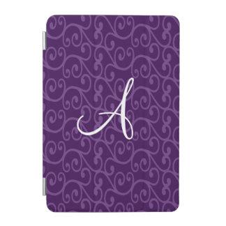 Monogram purple swirls iPad mini cover