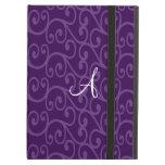 Monogram purple swirls iPad cases