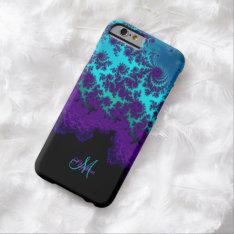 Monogram Purple Turquoise Fractal Iphone 6 Case at Zazzle