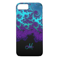 Monogram Purple Turquoise Fractal iPhone 7 Case