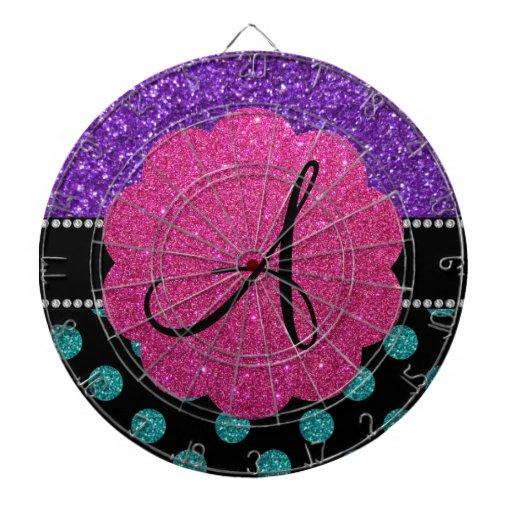 Monogram purple turquoise glitter polka dots dartboards