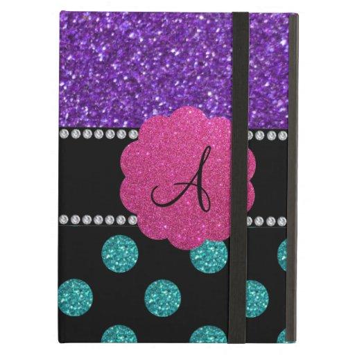 Monogram purple turquoise glitter polka dots iPad folio case