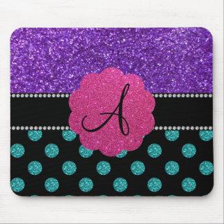 Monogram purple turquoise glitter polka dots mouse pad