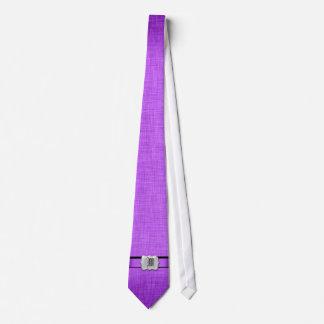 Monogram purple wedding exclusive designer neck tie