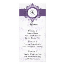 monogram purple wedding menu