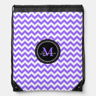 Monogram Purple White Abstract Chevron Drawstring Backpack