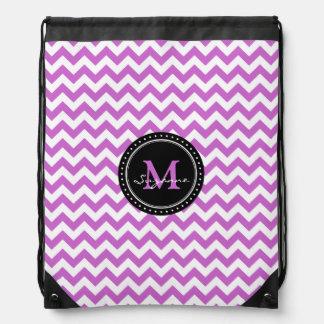 Monogram Purple White Abstract Chevron Drawstring Bag