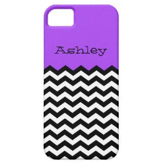 Monogram, Purple & White Chevron iPhone /5S iPhone 5 Covers