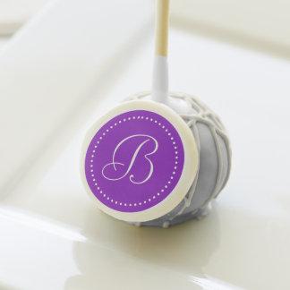Monogram Purple/White Dot Wedding Cake Pops