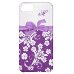 Monogram Purple white floral swirls iPhone 5C Cover