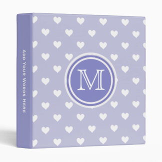 Monogram: Purple White Heart Chevron Binder