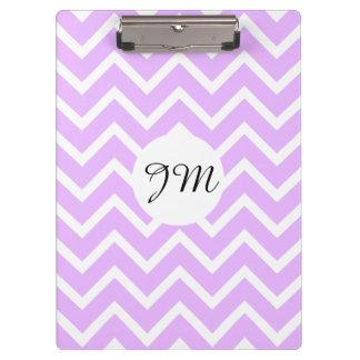 Monogram purple white pattern | Personalize Clipboard