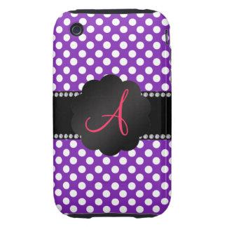 Monogram purple white polka dots iPhone 3 tough cover