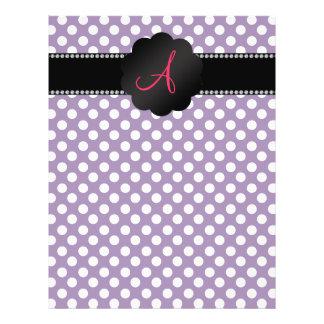 "Monogram purple white polka dots 8.5"" x 11"" flyer"
