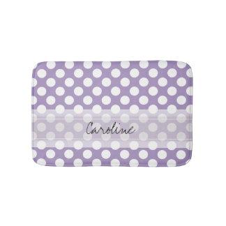 Monogram Purple White Trendy Fun Polka Dot Pattern Bath Mats