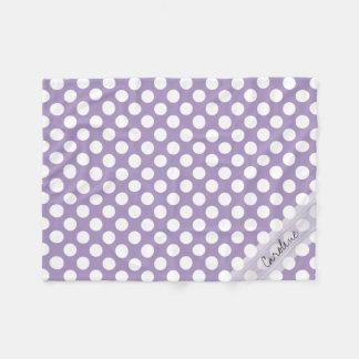 Monogram Purple White Trendy Fun Polka Dot Pattern Fleece Blanket