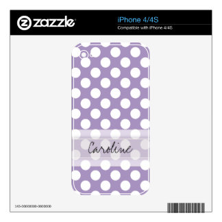 Monogram Purple White Trendy Fun Polka Dot Pattern iPhone 4S Decal
