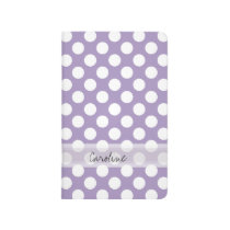 Monogram Purple White Trendy Fun Polka Dot Pattern Journal