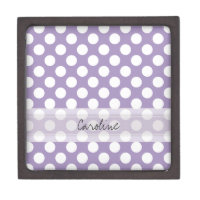 Monogram Purple White Trendy Fun Polka Dot Pattern Keepsake Box