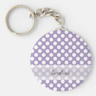 Monogram Purple White Trendy Fun Polka Dot Pattern Keychain