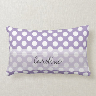 Monogram Purple White Trendy Fun Polka Dot Pattern Lumbar Pillow