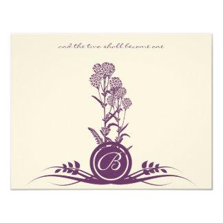 Monogram Purple Wild Flower Wedding RSVP Card