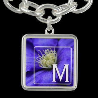 Monogram Purple Wildflower Clematis Flower Custom Bracelets