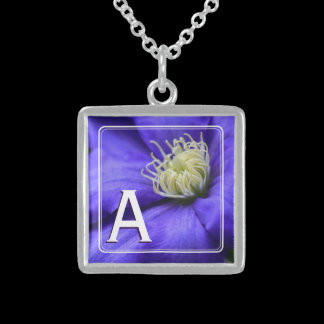 Monogram Purple Wildflower Clematis Flower Custom Sterling Silver Necklace