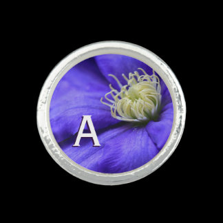 Monogram Purple Wildflower Clematis Personalized Rings