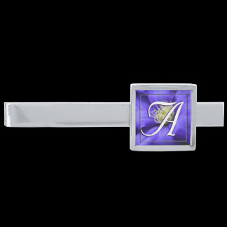 Monogram Purple Wildflower Clematis Personalized Silver Finish Tie Clip