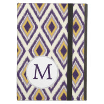 Monogram Purple Yellow Ikat Pattern iPad Air Covers