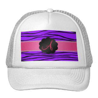 Monogram purple zebra stripes hat