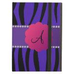 Monogram purple zebra stripes iPad covers