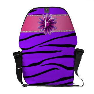 Monogram purple zebra stripes pink daisy messenger bag