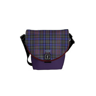 Monogram Purples Reds Blacks Scottish-style plaid Messenger Bag