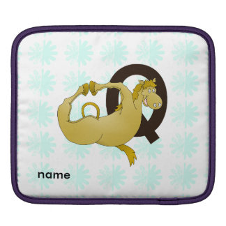 Monogram Q Cartoon Pony Customized iPad Sleeve