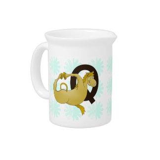 Monogram Q Cartoon Pony Personalized Drink Pitcher