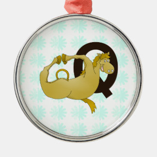 Monogram Q Cartoon Pony Personalized Metal Ornament