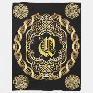 Monogram Q CUSTOMIZE To Change Background Color Fleece Blanket