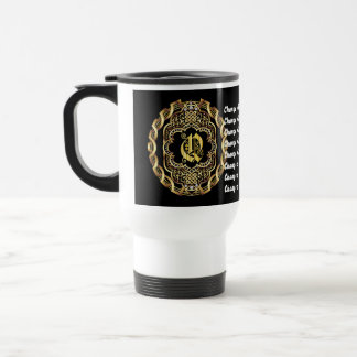 Monogram Q CUSTOMIZE To Change Background Color Travel Mug