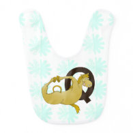 Monogram Q Funny Pony Personalized Baby Bibs