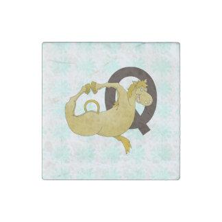 Monogram Q Funny Pony Personalized Stone Magnet