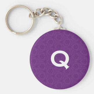 Monogram Q or Any Initial Purple 3D Effect C311 Basic Round Button Keychain