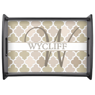 Monogram Quatrefoil Serving Tray