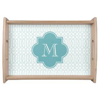 Monogram Quatrefoil serving tray