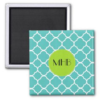 Monogram - Quatrefoil Shape - Blue White 2 Inch Square Magnet